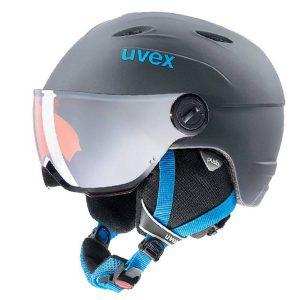 Akcesoria > Kaski - Kask z przyłbicą szybą Uvex Junior Visor Pro Titanium Blue Mat 2018